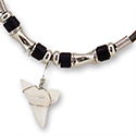 Fossil Shark Tooth with Black Bead