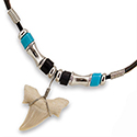 Fossil Shark Tooth with Black & Blue Bead