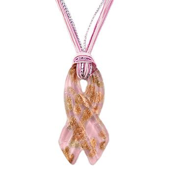 silver streak pink ribbon pendant
