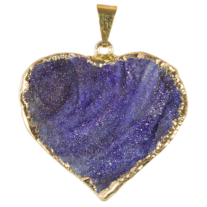 Druzy Quartz Agate Heart Pendant