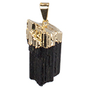 Natural Black Tourmaline Necklace - Gold