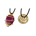 Tumbled Stone Swirl Cage Necklace - Gold