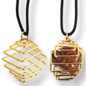 Tumbled Stone Square Cage Necklace - Gold