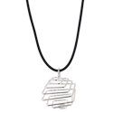 Tumbled Stone Square Cage Necklace - Silver